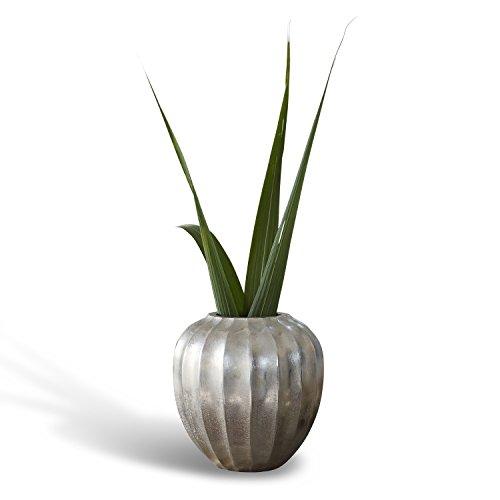 Kingsley Finish (Loberon Vase Kingsley, Aluminium, H/Ø ca. 17/16 cm, antiksilber)