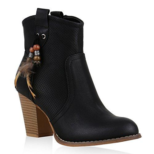 Damen Stiefeletten Cowboy Boots Stiefel Zierperlen Ethno Schuhe Schwarz