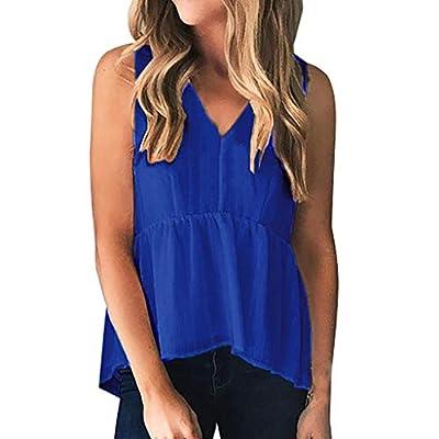 Yvelands Damen T-Shirt Weste Mode Ärmellos V-Ausschnitt Solide Tank Tops Freizeithemden Bluse