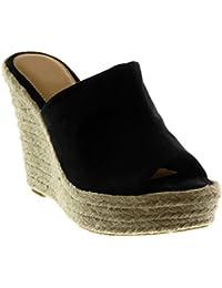 Angkorly Chaussure Mode Mule Sandale Slip-on Plateforme Femme Corde Tréssé  Talon Compensé ... 997d67b0909e