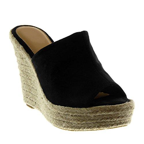Angkorly Damen Schuhe Mule Sandalen - Slip-On - Plateauschuhe - Seil - Geflochten Keilabsatz High Heel 12 cm - Schwarz 660-9 T 41 (Wildleder-pantoletten Schwarze)