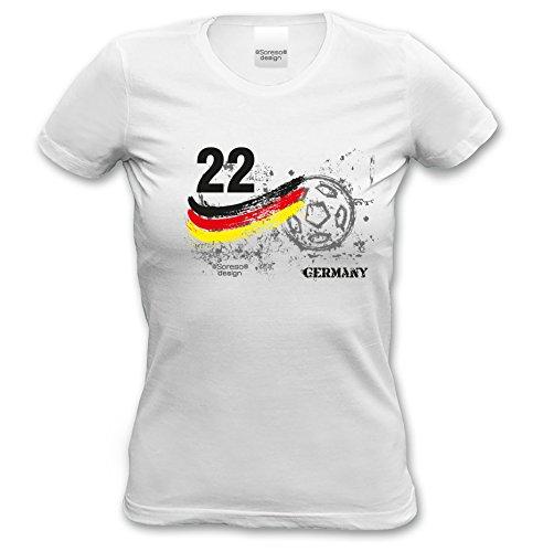 Fußball Damen T-Shirt Girlieshirt Trikot :-: Farbe: weiss :-: mit Spielernummer & Fußball Aufdruck :-: als Frauen Geburtstagsgeschenk Muttertagsgeschenk weiß-27
