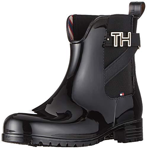 Tommy Hilfiger Damen TH Hardware Rubber Bootie Stiefeletten, Schwarz (Black 990), 36 EU