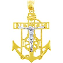 10K dos tonos 471/1000 Marineros Ancla Oro Cruz religiosa Crucifijo Colgante