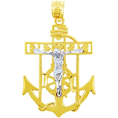 10K dos tonos 471/1000 Marineros Ancla Oro Cruz religiosa Crucifijo Colgante collar (Libro Con Cadena 45cm)