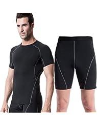 los deportes de los hombres y la ropa de entrenamiento de fitness de ajuste hermético cortocircuitos del juego de sudor de secado rápido de manga corta + 1018 + 1024 , black , s