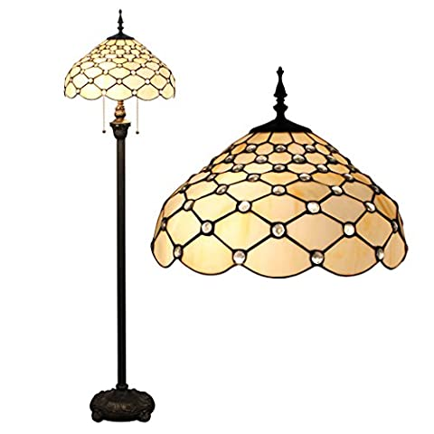 Gweat Tiffany 16-Inch European Retro Stained Glass White Pearl Series Floor Lamp