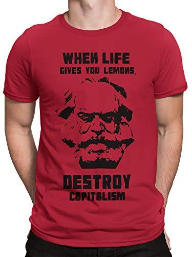vanVerden Herren T-Shirt Karl Marx Destroy Capitalism Kapitalismus DDR Shirt, Größe:M, Farbe:Rot/Schwarz