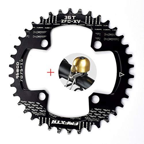DUBAOBAO AM/XC Fahrrad 96BCD Runde Single Disc, 32 t / 34 t / 36 t / 38 t Mountainbike Fahrrad Platte Disc und Kurbel Furnier,Black,96bcddisc36T -