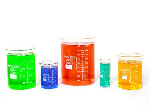 Glas Becher-Set von 5Borosilikat Dick niedrige Form-50ml, 100ml, 250ml, 500ml, 1000ml