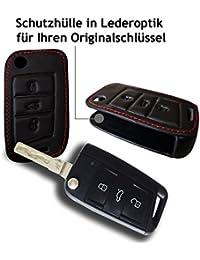 Schutzhülle in Lederoptik für Ihren 3 Tasten Seat VW Skoda Audi KFZ Schlüssel - passend für Ateca, A7(2015), Golf 7, Octavia uvm.