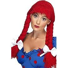 Smiffys Peluca de muñeca de trapo, roja, trenzas con flequillo y lazos