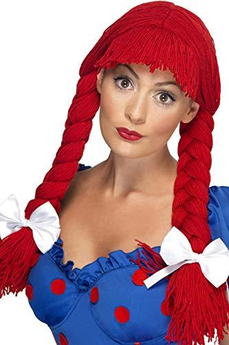 Doll Damen Kostüm Rag - Smiffys, Damen Stoffpuppen Perücke mit Pony, Zöpfen und Schleifen, One Size, Rot, 42233