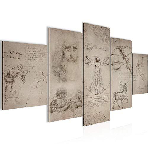 Bilder Werke von Leonardo Da Vinci Wandbild 150 x 75 cm Vlies - Leinwand Bild XXL Format Wandbilder Wohnung Deko Kunstdrucke - MADE IN GERMANY - Fertig zum Aufhängen 008953a