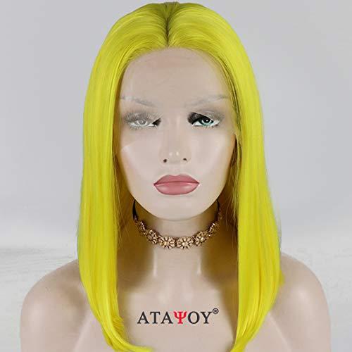 ATAYOU Kurze gerade gelbe Synthetische Bob Lace Front -