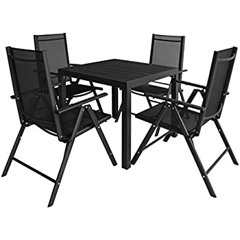 Festnight 5 Piece Aluminium Garden Dining Table And Chairs