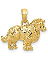 14k Yellow Gold Collie Dog Pendant Charm Necklace Animal Fine Jewelry For Women Gift Set