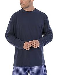 El Búho Nocturno Pijama de Caballero Corto Moderno a Rayas Anchas/Ropa de Dormir para Hombre - Punto, 100% algodón - Talla L - Color Azul…