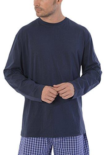 El Búho Nocturno - Pijama de Caballero | Pijama de Hombre Moderno, Camiseta Manga Larga Lisa y pantalón a Cuadros - Camiseta de Punto, 100% alg. y Pantalón Tela Popelín, 60% - 40%