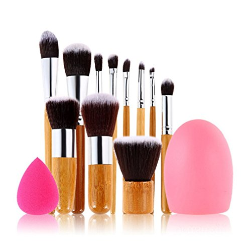 Beauty Reiniger Pro Blender (JasCherry Pro 11 Stück Make Up Pinselset + 1 Schwamm Puff + 1 Silikon Pinsel Reiniger - Professionellen Kosmetik Schmink-pinselset für Foundation Concealer Lidschatten etc.)