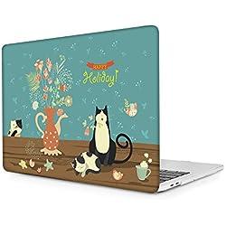 """Coque Rigide pour MacBook Pro 13 Pouces A1706/A1708 Housse de Protection en Caoutchouc Givré en Plastique Mat 2016 & 2017 Nouveau MacBook Pro 13"""" avec/Non Touch Bar- Chat de Dessin animé"""