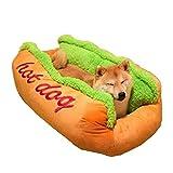 Tonsee Hot Dog Hundebett Weicher Plüsch Haustier Bett für Katzen und Hund Nett Warme Pet House Supply Abnehmbare Puppy Kitty Rabbit Rest Weiches Mode Schlafsack Sofa Pet Matte Funny Kissen (72*62*23cm, Gelb)