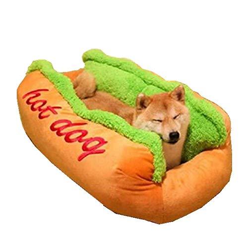 Tonsee Hot Dog Hundebett Weicher Plüsch Haustier Bett für Katzen und Hund Nett Warme Pet House Supply Abnehmbare Puppy Kitty Rabbit Rest Weiches Mode Schlafsack Sofa Pet Matte (59 * 50 * 23cm, Gelb)