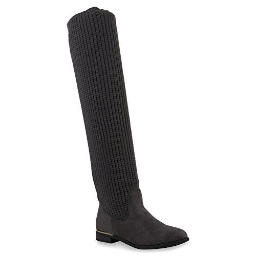 Damen Overknees Langschaft Stiefel Overknee Boots Strick Metallic Grau