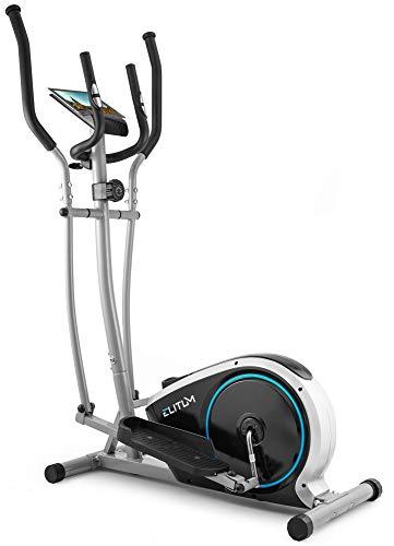 Elitum Crosstrainer MX350 Ellipsentrainer Heimtrainer inkl. Pulsmessung Computer Schwungmasse 10kg Benutzergewicht 125kg Magnet-Bremssystem (Silber)
