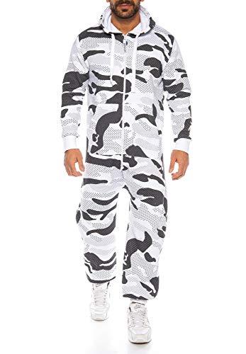 Raff & Taff Herren Jumpsuit Overall Trainingsanzug Fitnessbekleidung Onesie Ganzkörperanzug Basic und Schlicht (Snowleopard, XL)