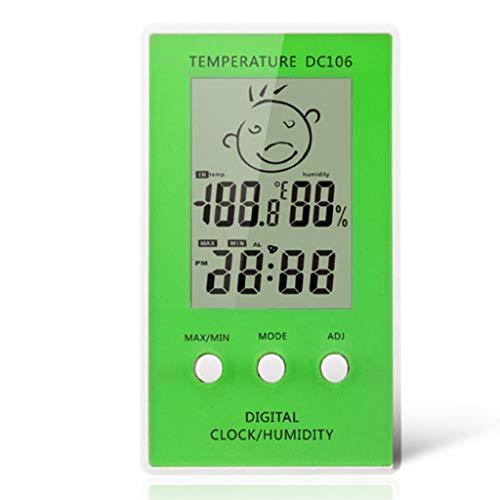 TMY Elektronisches Thermometer Hygrometer Kreativer Charakterausdruck für den Innenbereich Hintergrundbeleuchtung Wetterüberwachung Uhren Wetterstationen (Color : Green)