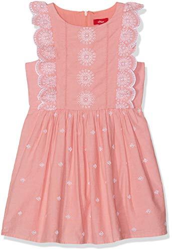 s.Oliver RED Label Junior Mädchen Kleid mit Lochmuster-Stickerei Coral red Check 140.REG (Junior Kleid Coral)