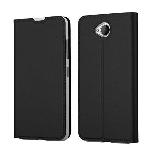 Cadorabo Hülle für Nokia Lumia 650 - Hülle in SCHWARZ - Handyhülle mit Standfunktion & Kartenfach im Metallic Erscheinungsbild - Case Cover Schutzhülle Etui Tasche Book Klapp Style