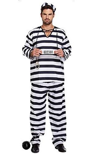 Einbrecher Schwarz Kostüm - Fancy Me Herren Erwachsene schwarz/weiß Sträfling Gefangener Einbrecher Polizisten & Räuber Dieb Kostüm Kleid Outfit STD & XL - Schwarz/weiß, X-Large, Schwarz/weiß