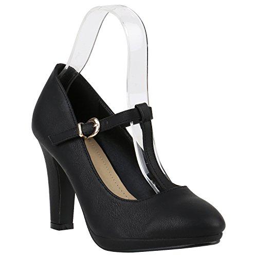 Damen Pumps T-Strap Spitze High Heels Riemchenpumps Stilettos Zierperlen Nieten Schuhe 142101 Schwarz Total Schnalle 38 | Flandell®