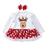 Riou Weihnachten Baby Kleidung Set Kinder Pullover Pyjama Outfits Set Familie Kleinkind Neugeborenes Baby Mädchen Prinzessin Weihnachtsmann Tutu Kleid Outfits Set (66, Weiß B)