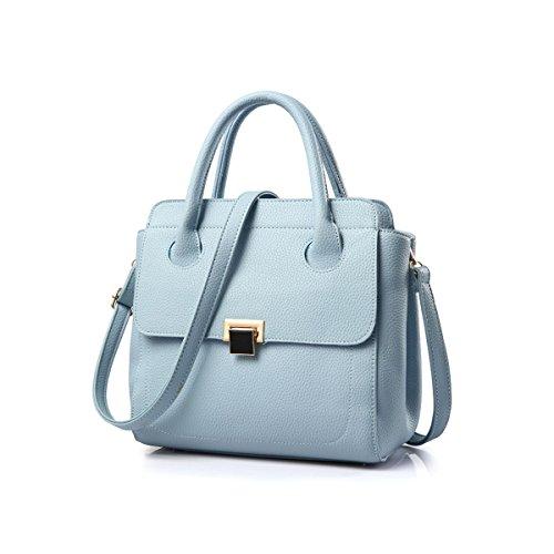 Emotionlin Delle Donne Alla Moda Del Progettista Del Cuoio Boutique Faux Grande Spalla Del Tasto Lucchetto Bag (Black) Sky Blue