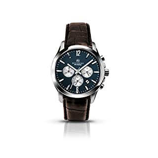 Accurist Men's Quartz Watch with Blue Dial Chronograph Display and Brown Leather Strap 7116
