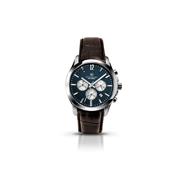 Accurist Men's Quartz Watch with Blue Dial Chronograph Display and Brown Leather Strap 7116 41IFwtWFzDL