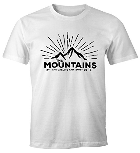 MoonWorks Herren T-Shirt - The Mountains Are Calling and I Must go - Wandern Berge Weiß L