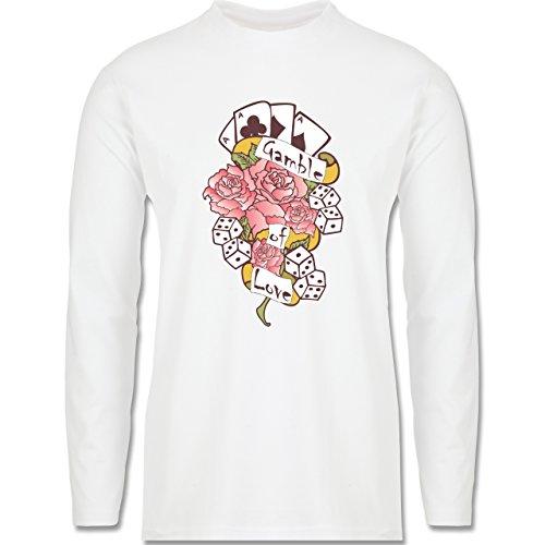 Rockabilly - Gamble of love - Longsleeve / langärmeliges T-Shirt für Herren  Weiß