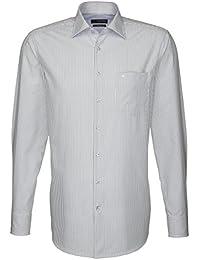 Seidensticker Herren Langarm Hemd Splendesto Regular Fit grau / weiß gestreift mit Patch 187626.32