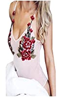 Witkeyseller Womens Casual Flare Sleeves Embroidery V Neck Romper Pink XS