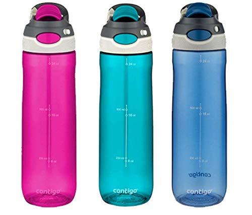 Contigo Autospout Technology Auslauf- und auslaufsichere Wasserflaschen, Monaco/Greyed Jade/Radiant Orchid, 24 Oz x 3 Bottles (Jade Contigo)