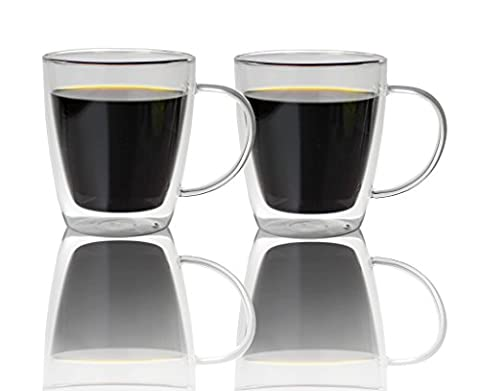 Double Walled Glass Coffee Mugs 500ml, Set of 2, Insulated