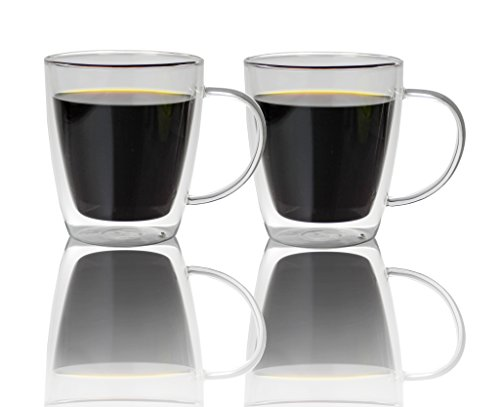 Double Walled Glass Coffee Mugs 500ml, Set of 2, Insulated Glass Cups for Morning Hot C...