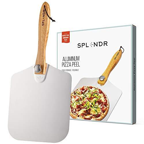 Spledr Pizzaschieber aus Aluminium mit faltbarem Holzgriff, 30,5 x 35,6 cm, tolles Geschenk für selbstgemachte Pizza-Liebhaber. Easy Storage Pizzaschieber zum Brotbacken