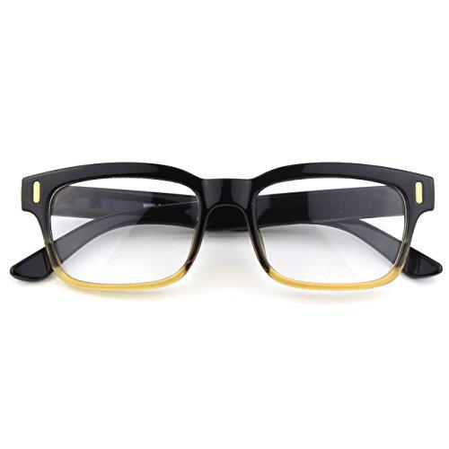 CGID CN12 Brille Extra Schmaler Rahmen! Slim Rechteck Nerd Clear Brille, B Schwarz Braun, 52
