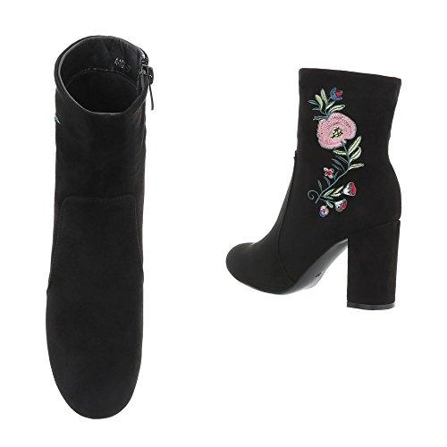 High Heel Stiefeletten Damenschuhe High Heel Stiefeletten Pump High Heels Reißverschluss Ital-Design Stiefeletten Schwarz