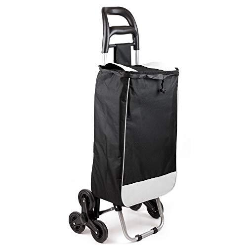Faltbarer Einkaufstrolley mit Treppensteiger, Handwagen/Einkaufswagen mit Zugband/Stabile und Faltbare Einkaufstasche Schwarz